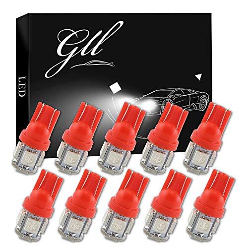 GLL 10st Rood T10 501 LED-lampen 194 168 W5W Wedge T10 Capless Lampen met 5-5050-SMD Vervanging voor Auto-interieur Dome Kaart Deur Dashboard Kofferbak Hoffelijkheid Kentekenverlichting