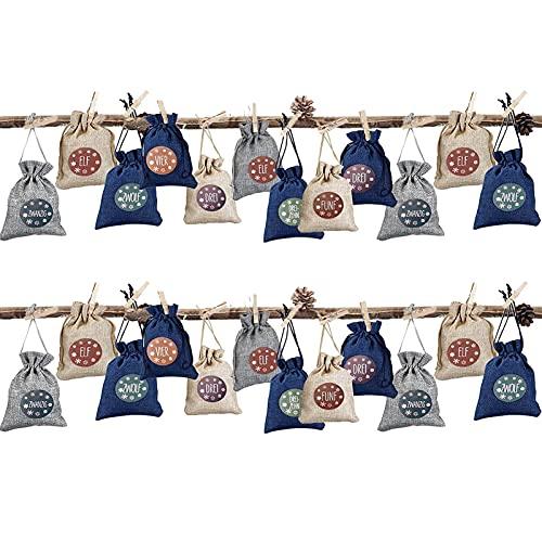 biteatey Calendario de Adviento con 24 bolsas de lino con cordón y 24 pegatinas numeradas, con colgante de cuenta regresiva de Navidad