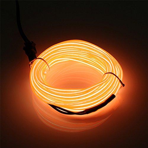 JIGUOOR 5 Meter EL Kabel El Linie El Neon Licht Elektrolumineszenz Batterie betrieben mit 3 Modis für Dekoration Weihnachten (Orange)