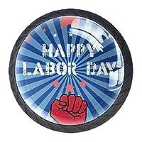 引き出しノブプルハンドル4個 クリスタルガラスのキャビネットの引き出しは食器棚のノブを引っ張る,労働者の日のロゴ