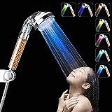 InGoo Alcachofa de ducha con luz LED de 7colores cambiantes, para agua a presión, con iones negativos, filtro doble para cloro y vaporizar, ahorro de agua, plástico abs, 220 x 60 mm