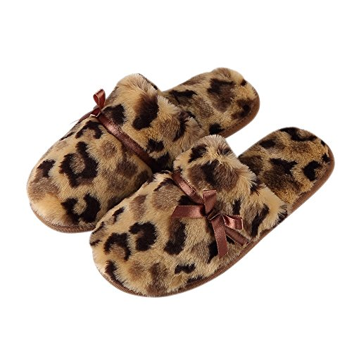 Rojeam Pantofole Invernali Piatta Piane Pantofole delle Donne del Leopardo