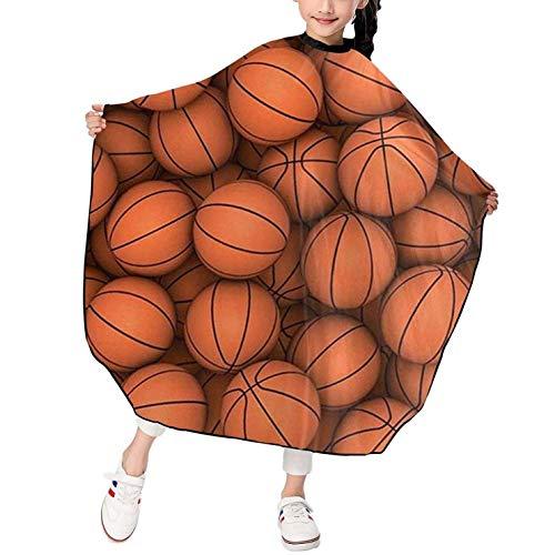 Capa de corte de pelo de peluquero con estampado naranja de baloncesto para salón de niños Delantal de corte de pelo para niños y niñas Impermeable Durable 39 x 47 pulgadas