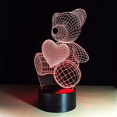 Lampada a LED a forma di cuore in cartone animato a forma di cuore Lampada da notte per bambini 3D Illuminazione per illuminazione USB n Regalo