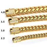VVHN Pulseras De Los Hombres Pulsera Cubana Dorada para Hombres Cadena Redonda De Micro-Set De Acero Titanio Diamantes Blancos