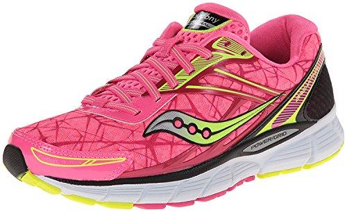 Saucony Women's Breakthru Running Shoe,Pink/Citron,7.5 M US