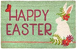 Northeast Home Goods Easter Spring Themed Entryway Coir Doormat, 18-Inch x 28-Inch (Happy Easter Flower Bunny)