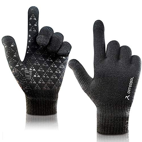 arteesol Winterhandschuhe Stricken Handschuhe, Touchscreenhandschuhe Herren Damen gestrickt Anti-Rutsch Winddicht Beheizbare Handschuhe für Outdoor Radfahren Camping Bergsteigen