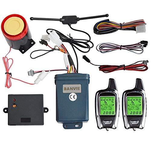 Sistema SPY 2 vías moto de la motocicleta de Seguridad de alarma antirrobo con control remoto del motor Start Stop, Transmisores Dos LCD