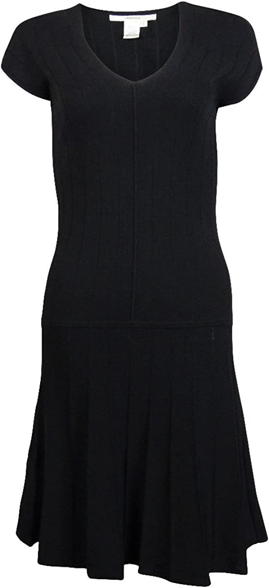 Studio M Women's Cap Sleeve V-Neck Flare Hem Dress (M, Black)