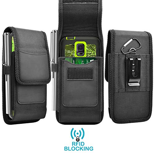 Tekcoo Phone Holster for iPhone 11 / Galaxy A01 A21 A51 A71 5G / Moto G Power G Stylus G Fast Edge+ Moto E 2020 / LG V60 K51 Nylon Oxford Belt Pouch Clip Carrying [RFID] Wallet Case Card Holder Slots