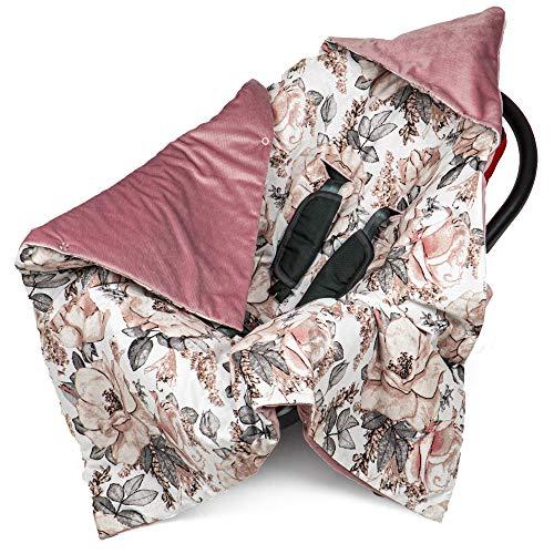 Einschlagdecke Babyschale 90x90 cm Velvet - universal Frühling Sommer Baby Babydecke z. B. für Maxi Cosi Buggy Autositz Baumwolle Öko-Tex (Puderrose Velvet mit Rose)