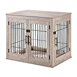 beeNbarks Pet Crate End Table, Double Doors Wooden Wire Dog Kennel with Pet Bed, Medium and Large Furniture Style Dog Crate, Decorative Dog House Cage Indoor Use, Chew-Proof