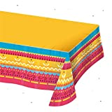 Fiesta Tablecloth, Jumbo Plastic Tablecover 108'' x 54'' For Cinco De Mayo Fiesta Taco Night Birthday Mexican Party Taco Tuesday Birthday