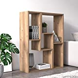dmora modulo componibile formato da due pezzi per creare mobile da soggiorno porta tv-libreria-tavolino, cm 130 x 25 x 50, colore quercia