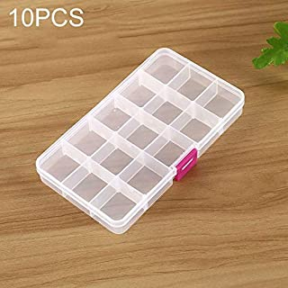 New Home Storage 10 PCS Removable Grid Plastic 15 Slots Box Organizer for Jewelry Earring Fishing Hook Small Accessories(Pink+Blue) Used for Home (Color : Color5)
