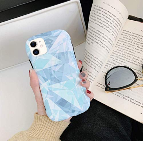 Cidana for iPhone Case Mobile Phone Case Creative Laser Pattern 3D Diamond Pattern Slim Shock Absorption TPU Silicone Shell(Sky Blue,iPhone 11Pro