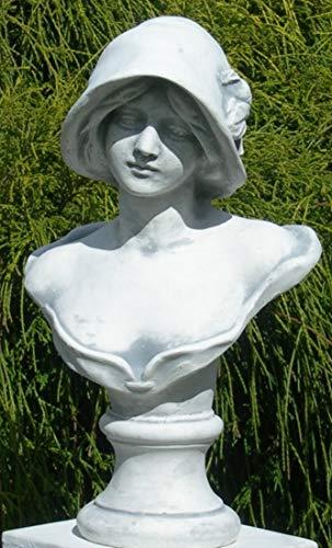 Unbekannt Skulptur Figur Büste Frau mit Hut grau patiniert Höhe 39 cm Gartenskulptur aus Beton Gartendeko Garten Deko Figur
