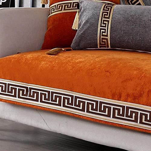 Miwaimao Chinese Fabric Sofa Cushion Thickening Shroud Of Classical Chinese Style Three-Digit Combination Cushion Slip Towel,Orange,70x180cm
