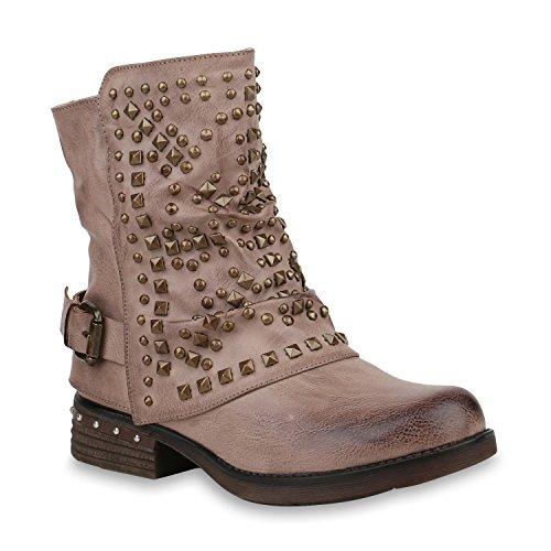 Damen Schuhe Biker Boots Warm Gefütterte Stiefel Nieten Stiefeletten 153008 Khaki Berkley 39 Flandell