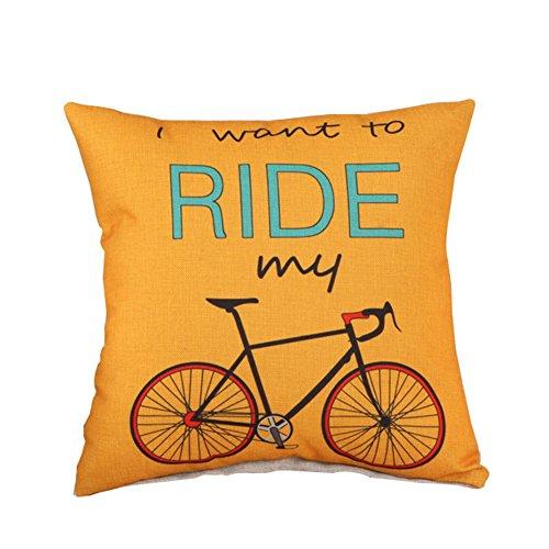 Vi.yo Housse de Coussin Housse de Coussin avec de Belles Motifs de Bicyclette pour Chambre à Coucher Club bureau Canapé(jaune)