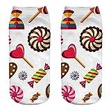 ZZBO Niedliche Söckchen 3D Lutscher Eibisch Süßigkeiten Gedruckt Sneaker Socken Bunte Halbsocken Mode Fußkettchen Socken Lustige Niedrige Knöchel Socken Lässige Socken Unisex Mann Frau