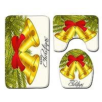 3ピースバスルームマットセット1 U字型輪郭トイレマット2カーペット用浴槽シャワーとバスルーム理想的なクリスマスの装飾-yellow-L