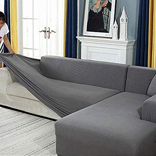 Zhongdalian Sofabezug, Eck Stretch-Sofabezug Stretch Sofabezug für 1/2/3/4 Sitzer(L-förmiges Ecksofa erfordert Zwei)
