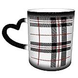 Taza de café de cerámica personalizada sin costuras escocesa escocesa de tartán negro blanco rojo - es un regalo perfecto/presente