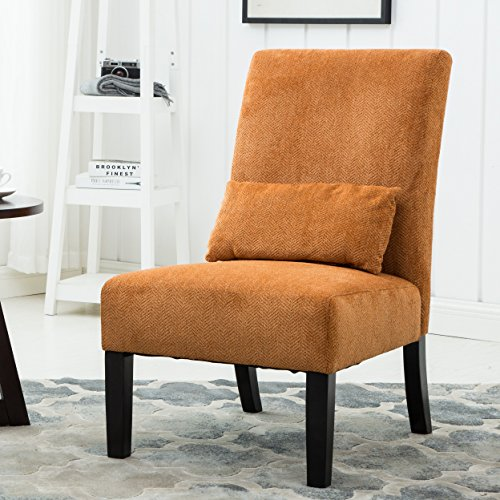 Roundhill Furniture Pisano Orange Fabric Armless Contemporary Accent Chair with Matching Kidney Pillow, Single
