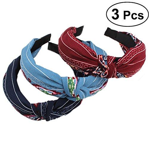 Frcolor Diademas de pelo duro, vendas de la manera llano ancho Diadema de nudo turbante para mujeres niñas, 3 piezas