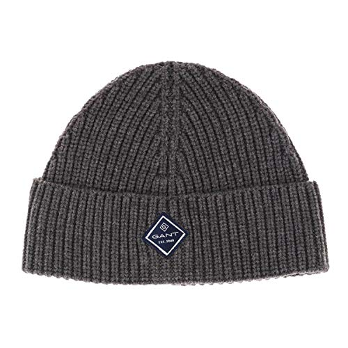 Gant D1. Cotton Rib Knit Hat Orejeras, Color Gris, Talla única para Hombre