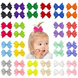 QtGirl 40pcs 2' Mini Hair Bow Grosgrain Ribbon Hair Bows with Alligator Clips for Baby Girls Toddlers Kids in Pairs