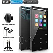 MusRun MP3 player, 16GB mp3 player with Bluetooth 4.2, internal speaker,FM radio and Recording, support Shuffle play,Equalizer, HIFI,Pedometer and armband included (gift packing)