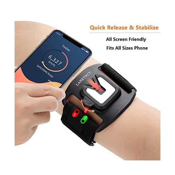 LANETNCY Phone Armband – Running Phone Holder with Car Mount – Qucik Release Stabilize All Screen Friendly – Great for Workout Jogging – Compatible Cell Phone