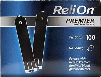 ReliOn Premier Blood Glucose Test Strips 100 Ct