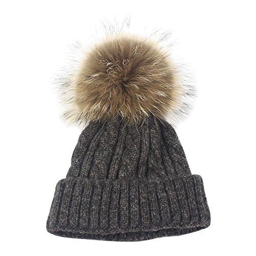 Isuper Wintermütze mit Fellbommel warme Skimütze Camping Hut Mütze Beanie mit Bommel Strickmütze mit Pelzball Haarball wie Weihnachts Geschenk (Schwarz)