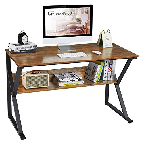 """GreenForest Computer Desk with Bookshelf 47"""" Industrial Gaming Writing Desk Space Saving Study Laptop Table Workstation for Home Office, Walnut"""