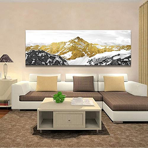 wZUN Posters and Prints Wall Art Canvas Painting Chinese Traditional Abstract Living Room Mountain Gold Oil Painting Home Decoration 50x150cm