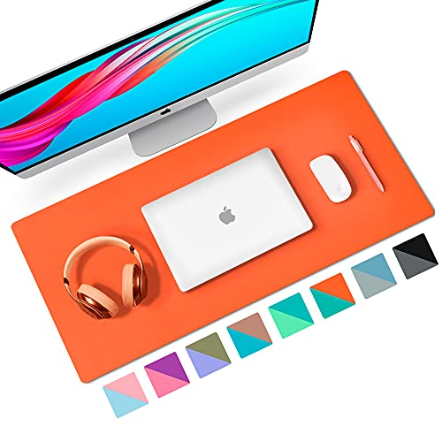 """Aothia Desk Pad, Multifunctional Dual-sided Office Desk Mat, Smooth Surface Soft Mouse Pad, Easy Clean Waterproof Pu Leather Desk Cover, Desk Writing Mat for Office/Home (23.6"""" x 13.7"""",Orange+Tiffany)"""