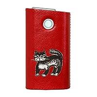 glo グロー グロウ 専用 レザーケース レザーカバー タバコ ケース カバー 合皮 ハードケース カバー 収納 デザイン 革 皮 RED レッド 動物 猫 アニマル 011437