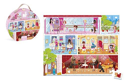 Janod - J02777 - Puzle de 100 piezas con diseño de academia de baile en un maletín con asa para niños a partir de 5 años