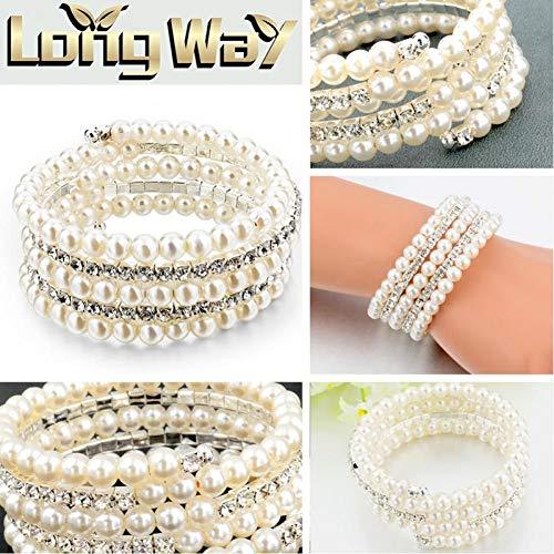 NA HQXIZ Armband Fahsion Crystal Imitatie Parel Armbanden Voor Vrouwen Multi Layer Brede Armbanden