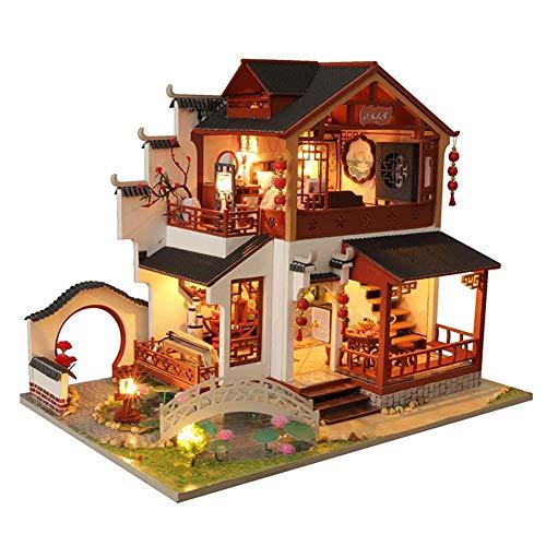 DIY Puppenhaus Kit 3D Montiert Loft Dollhouse Handgefertigte Haus Puppenzubehör Puppenstube Haus Chinesische antike Gebäude Haus für Weihnachten Geburtstag Minipuppen