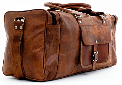 Leather Duffel Travel Gym Overnight Weekend Leather Bag Classic Round Handmade Eco-Friendly Bag...