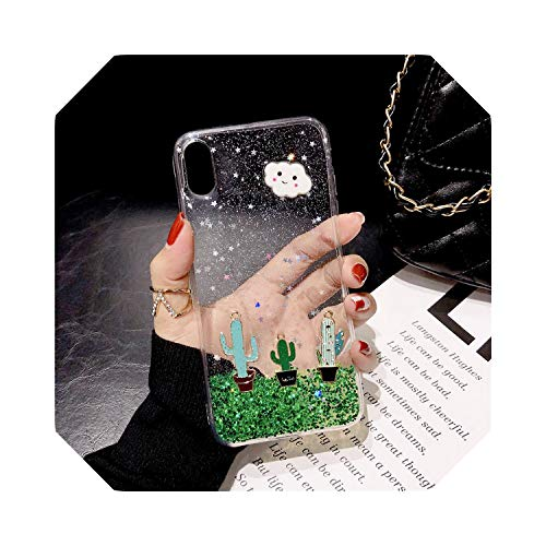Bling Glitter Cactus Cloud Fitted Case for iPhone XS MAX 11 Pro XR X 7 8 6 6S Plus Clear Soft TPU Phone Cover Star