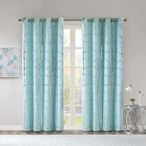 Intelligent Design Raina Total Blackout Metallic Print Grommet Top Window Curtain Panel Thermal Insulated Light Blocking Drape for Bedroom Living Room and Dorm, 84'x50', Aqua/Silver