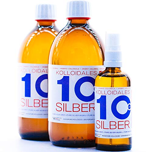 1100ml Plata coloidal PureSilverH2O / 2 x Botellas (cada 500ml/10ppm) Plata coloidal + Spray (100ml/10ppm) - 99,99% de plata pura - la mejor calidad - Made in Germany
