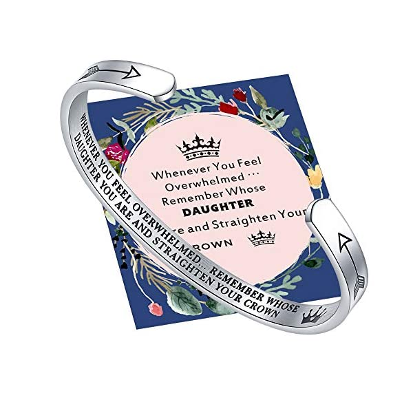JAITILY Whenever You Feel Overwhelmed Remember Whose Daughter Straighten Your Crown Bracelet, Daughter Birthday Gifts Bracelet from Mom Engraved Inspirational Bangle Cuff Bracelet