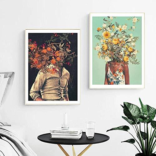 ZLARGEW You Loved Me 1000 Ago Art Print Canvas Painting Raíces y Flores Póster e impresión Imagen de Arte...